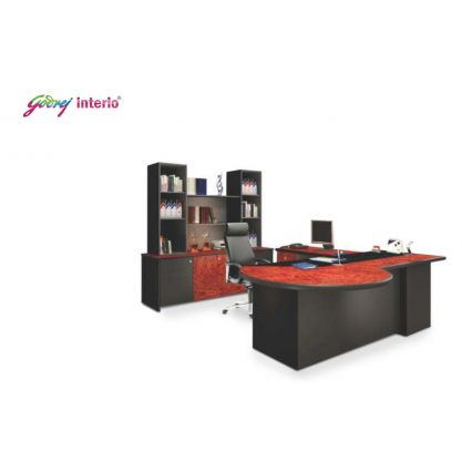 Godrej Executive Table With Side Table And Back Unit With Showcase
