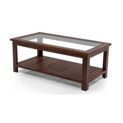 Teak Wood Centre Table With Glass Top Glass Decorating Ideas
